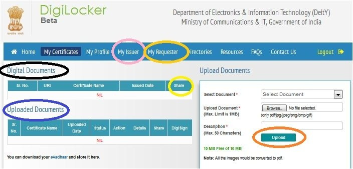 documents in digilocker